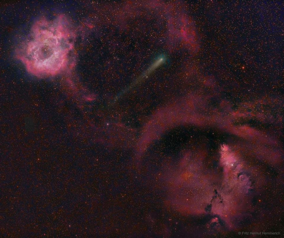 La comète 12P entre les nébuleuses de la Rosette et du Cône