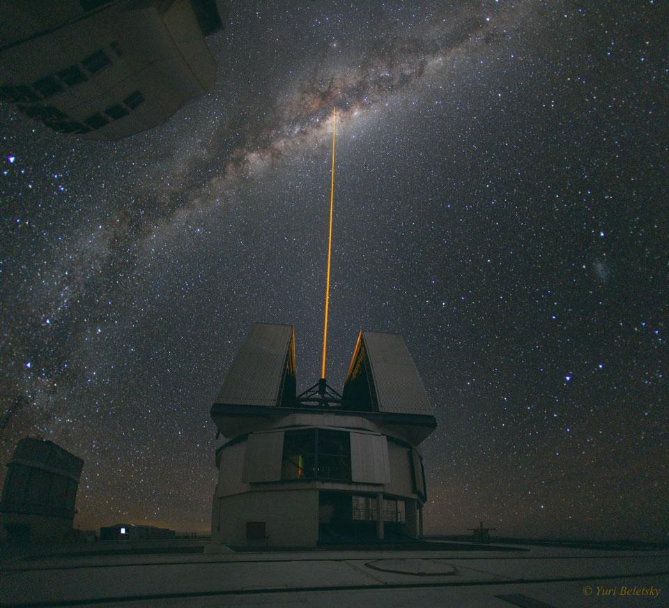 Frappe laser vers le centre galactique
