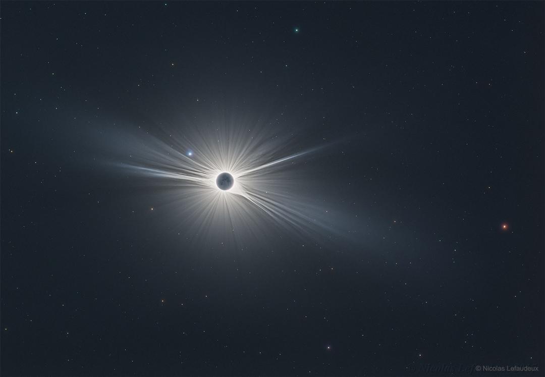 Plan large de la grande éclipse américaine