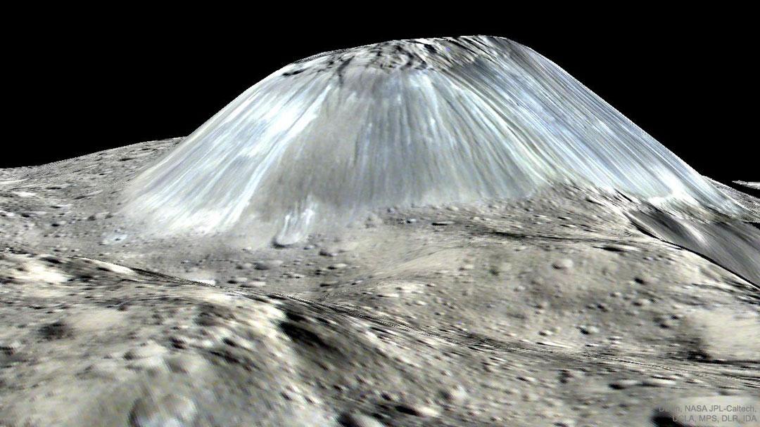 Ahuna Mons, étrange montagne de l\'astéroïde Cérès