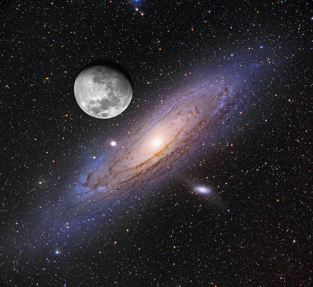 Comparaison entre la Lune et Andromède