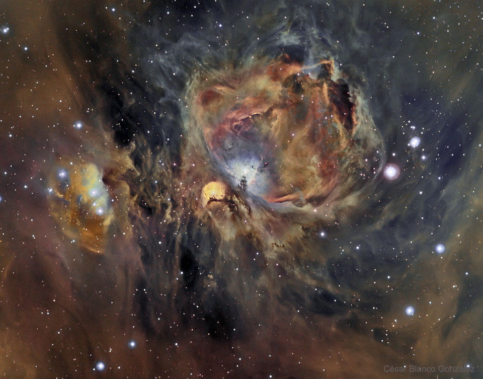La nébuleuse d\'Orion en oxygène, hydrogène et soufre