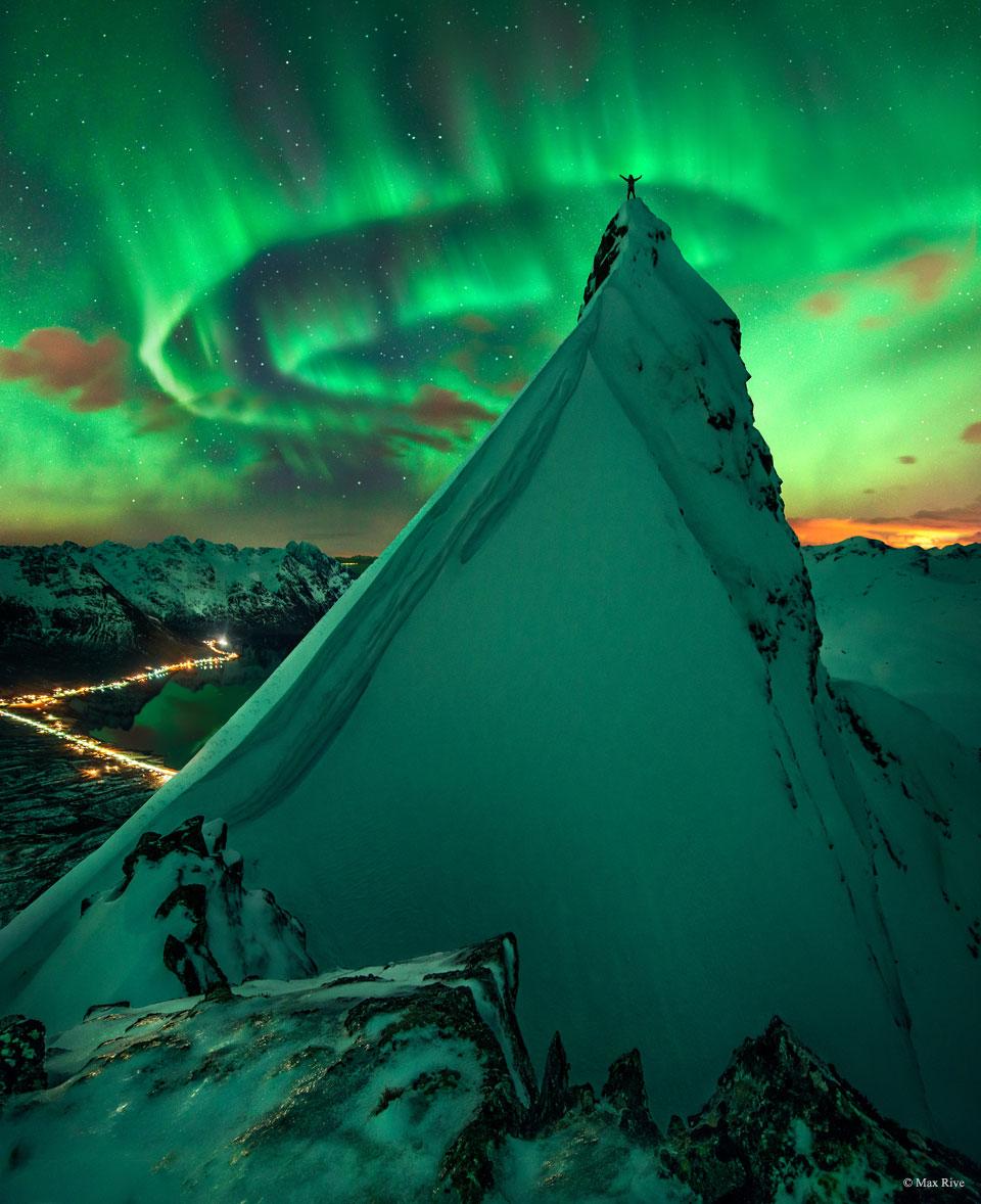 En verte compagnie, aurore polaire sur la Norvège