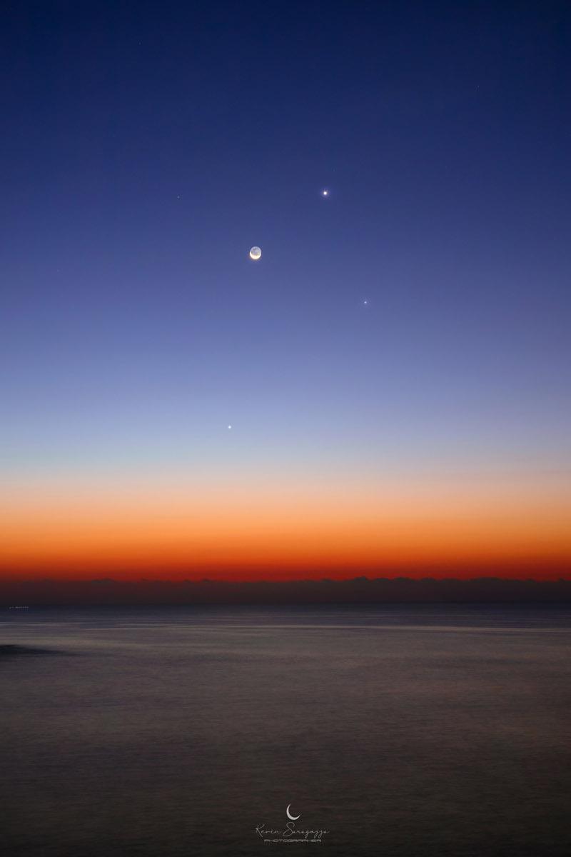 Vénus, Mercure et la lune décroissante