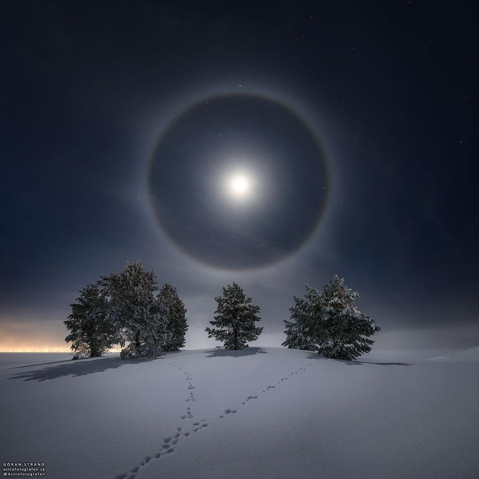 Halo lunaire sur paysage d\'hiver