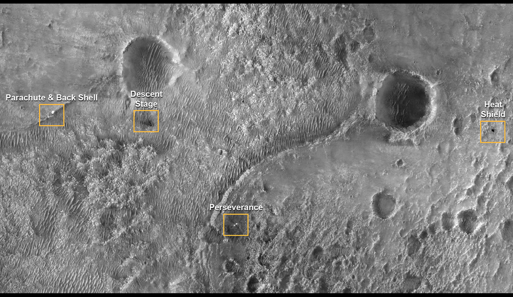 Le site d\'atterrissage de Perseverance vu depuis l\'orbite martienne